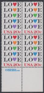 USA Michel 1677 / Scott 2072 postfrisch BLOCK RÄNDER unten m/ copyright symbol (rechts ungezähnt) - Grußmarke: Love