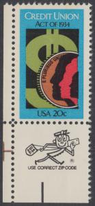 USA Michel 1681 / Scott 2075 postfrisch EINZELMARKE ECKRAND unten links m/ ZIP-Emblem - 50 Jahre Genossenschaftsbankgesetz