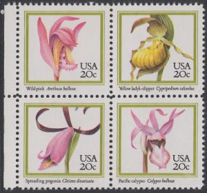 USA Michel 1683-1686 / Scott 2076-2079 postfrisch BLOCK RÄNDER links (a2) - Orchideen
