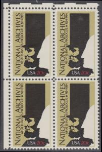 USA Michel 1689 / Scott 2081 postfrisch BLOCK ECKRAND oben links - 50 Jahre Nationalarchiv