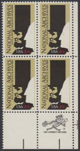 USA Michel 1689 / Scott 2081 postfrisch ZIP-BLOCK (lr) - 50 Jahre Nationalarchiv