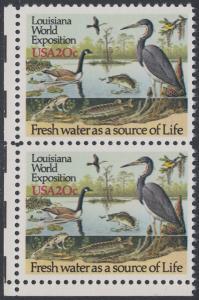 USA Michel 1694 / Scott 2086 postfrisch vert.PAAR ECKRAND unten links - Louisiana-Weltausstellung, New Orleans - Gewässerschutz
