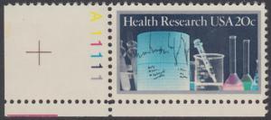 USA Michel 1695 / Scott 2087 postfrisch EINZELMARKE ECKRAND unten links m/ Platten-# A11111 - Medizinische Forschung: Laborgeräte