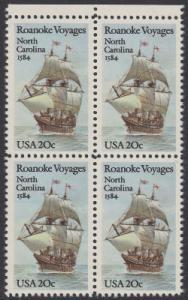 USA Michel 1702 / Scott 2093 postfrisch BLOCK RÄNDER oben - 400. Jahrestag des 1. Besiedelungsversuchs von North Carolina: Segelschiff Elizabeth