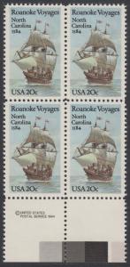 USA Michel 1702 / Scott 2093 postfrisch BLOCK RÄNDER unten m/ copyright symbol - 400. Jahrestag des 1. Besiedelungsversuchs von North Carolina: Segelschiff Elizabeth