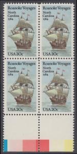 USA Michel 1702 / Scott 2093 postfrisch BLOCK RÄNDER unten (a1) - 400. Jahrestag des 1. Besiedelungsversuchs von North Carolina: Segelschiff Elizabeth