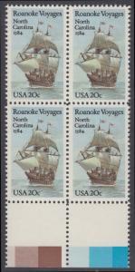 USA Michel 1702 / Scott 2093 postfrisch BLOCK RÄNDER unten (a2) - 400. Jahrestag des 1. Besiedelungsversuchs von North Carolina: Segelschiff Elizabeth