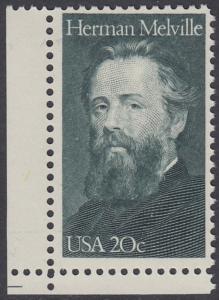 USA Michel 1703 / Scott 2094 postfrisch EINZELMARKE ECKRAND unten links - Herman Melville. Schriftsteller