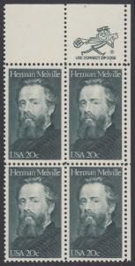 USA Michel 1703 / Scott 2094 postfrisch ZIP-BLOCK (ur) - Herman Melville. Schriftsteller