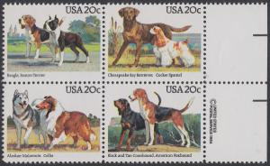 USA Michel 1708-1711 / Scott 2098-2101 postfrisch BLOCK RÄNDER rechts m/ copyright symbol - Hunde