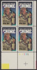 USA Michel 1712 / Scott 2102 postfrisch PLATEBLOCK ECKRAND unten rechts m/ Platten-# A1111 - Verbrechensvorbeugung