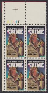 USA Michel 1712 / Scott 2102 postfrisch PLATEBLOCK ECKRAND oben links m/ Platten-# A1111 (a) - Verbrechensvorbeugung