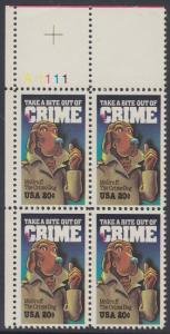 USA Michel 1712 / Scott 2102 postfrisch PLATEBLOCK ECKRAND oben links m/ Platten-# A1111 (b) - Verbrechensvorbeugung