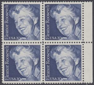 USA Michel 1714 / Scott 2105 postfrisch BLOCK RÄNDER rechts (a2) - 100. Geburtstag von Eleanor Roosevelt, Politikerin