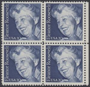 USA Michel 1714 / Scott 2105 postfrisch BLOCK RÄNDER rechts (a1) - 100. Geburtstag von Eleanor Roosevelt, Politikerin