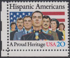 USA Michel 1718 / Scott 2103 postfrisch EINZELMARKE ECKRAND unten links - Amerikaner spanischer Abstammung