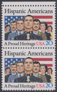 USA Michel 1718 / Scott 2103 postfrisch vert.PAAR RAND oben - Amerikaner spanischer Abstammung