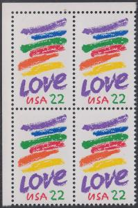 USA Michel 1746 / Scott 2143 postfrisch BLOCK ECKRAND oben links - Grußmarke: Striche, Love
