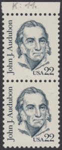 USA Michel 1749 / Scott 1863 postfrisch vert.PAAR RAND oben - Amerikanische Persönlichkeiten: John James Audubon (1785-1851), Zeichner