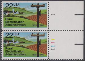 USA Michel 1752 / Scott 2144 postfrisch vert.PAAR ECKRAND oben rechts m/ Platten-# 1 - 50 Jahre Amt für die Elektrifizierung der ländlichen Gebiete