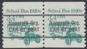 USA Michel 1755 / Scott 2123 postfrisch horiz.PAAR precancelled - Fahrzeuge: Schulbus