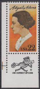 USA Michel 1757 / Scott 2146 postfrisch EINZELMARKE ECKRAND unten links m/ ZIP-Emblem - Abigail Adams, Schriftstellerin