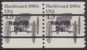 USA Michel 1758 / Scott 2124 postfrisch horiz.PAAR precancelled (a2) - Fahrzeuge: Kutsche