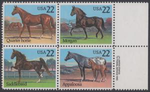 USA Michel 1767-1770 / Scott 2155-2158 postfrisch BLOCK RÄNDER rechts m/ copyright symbol - Pferde