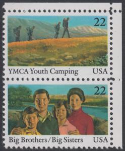 USA Michel 1772+1774 / Scott 2160+2162 postfrisch vert.PAAR ECKRAND oben rechts - Internationales Jahr der Jugend: Jugendorganisationen