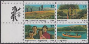 USA Michel 1772-1775 / Scott 2160-2163 postfrisch ZIP-BLOCK (ul) - Internationales Jahr der Jugend: Jugendorganisationen