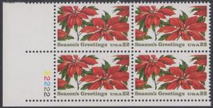 USA Michel 1779 / Scott 2166 postfrisch PLATEBLOCK ECKRAND unten links m/ Platten-# 22222 (a) - Weihnachten: Poinsettia