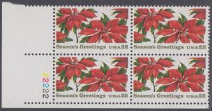 USA Michel 1779 / Scott 2166 postfrisch PLATEBLOCK ECKRAND unten links m/ Platten-# 22222 (b) - Weihnachten: Poinsettia