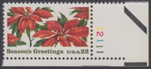 USA Michel 1779 / Scott 2166 postfrisch EINZELMARKE ECKRAND unten rechts m/ Platten-# 12111 - Weihnachten: Poinsettia