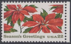 USA Michel 1779 / Scott 2166 postfrisch EINZELMARKE RAND rechts - Weihnachten: Poinsettia