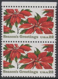 USA Michel 1779 / Scott 2166 postfrisch vert.PAAR RAND oben - Weihnachten: Poinsettia