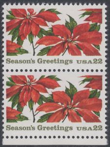 USA Michel 1779 / Scott 2166 postfrisch vert.PAAR RAND unten - Weihnachten: Poinsettia