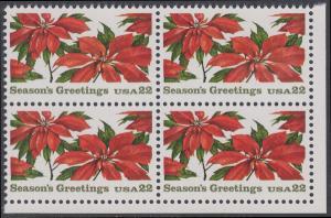 USA Michel 1779 / Scott 2166 postfrisch BLOCK ECKRAND unten rechts - Weihnachten: Poinsettia
