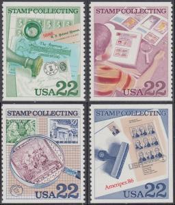 USA Michel 1783-1786 / Scott 2199-2201 postfrisch SATZ(4) EINZELMARKEN (aus Markenheft) - Briefmarkensammeln; Internationale Briefmarkenausstellung AMERIPEX '86, Chicago