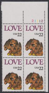 USA Michel 1787 / Scott 2202 postfrisch PLATEBLOCK ECKRAND oben rechts m/ Platten-# 21112 (b) - Grußmarke: Stoffhund