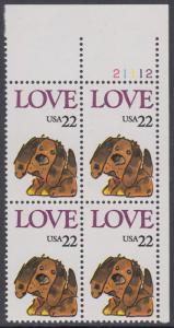 USA Michel 1787 / Scott 2202 postfrisch PLATEBLOCK ECKRAND oben rechts m/ Platten-# 21112 (a) - Grußmarke: Stoffhund