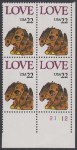 USA Michel 1787 / Scott 2202 postfrisch PLATEBLOCK ECKRAND unten rechts m/ Platten-# 21112 (b) - Grußmarke: Stoffhund