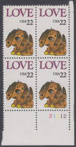 USA Michel 1787 / Scott 2202 postfrisch PLATEBLOCK ECKRAND unten rechts m/ Platten-# 21112 (a) - Grußmarke: Stoffhund