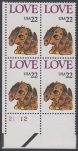 USA Michel 1787 / Scott 2202 postfrisch PLATEBLOCK ECKRAND unten links m/ Platten-# 21112 (d) - Grußmarke: Stoffhund