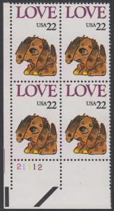 USA Michel 1787 / Scott 2202 postfrisch PLATEBLOCK ECKRAND unten links m/ Platten-# 21112 (e) - Grußmarke: Stoffhund