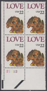 USA Michel 1787 / Scott 2202 postfrisch PLATEBLOCK ECKRAND unten links m/ Platten-# 21112 (b) - Grußmarke: Stoffhund