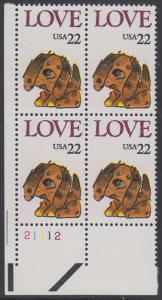 USA Michel 1787 / Scott 2202 postfrisch PLATEBLOCK ECKRAND unten links m/ Platten-# 21112 (c) - Grußmarke: Stoffhund
