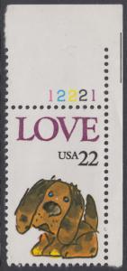 USA Michel 1787 / Scott 2202 postfrisch EINZELMARKE ECKRAND oben rechts m/ Platten-# 12221 - Grußmarke: Stoffhund