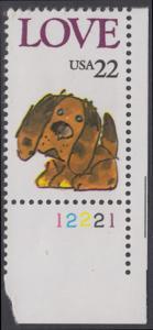USA Michel 1787 / Scott 2202 postfrisch EINZELMARKE ECKRAND unten rechts m/ Platten-# 12221 - Grußmarke: Stoffhund