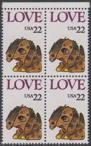 USA Michel 1787 / Scott 2202 postfrisch BLOCK RÄNDER oben - Grußmarke: Stoffhund