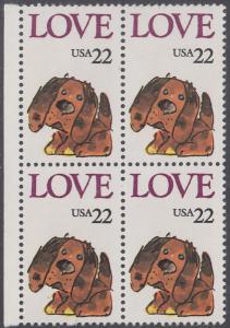 USA Michel 1787 / Scott 2202 postfrisch BLOCK RÄNDER links - Grußmarke: Stoffhund